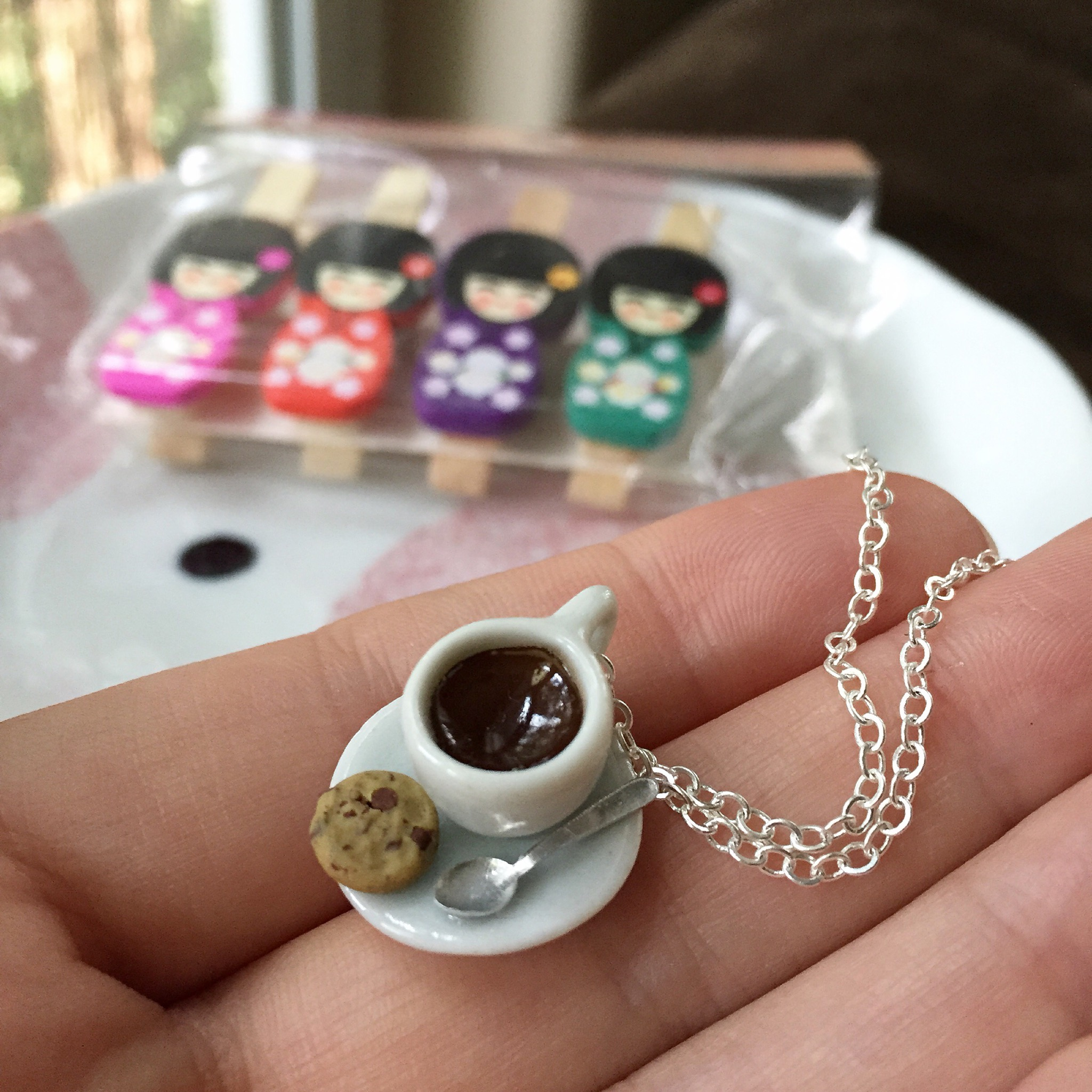 cookie and coffee necklace