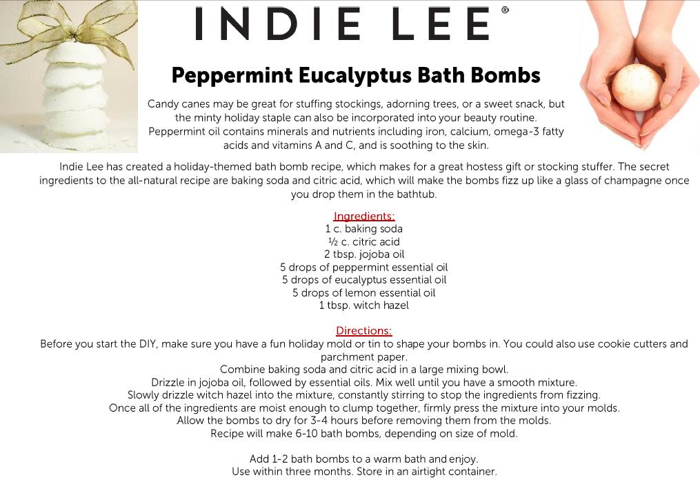 indie lee diy peppermint eucalyptus bath bomb
