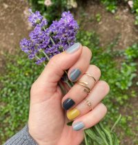 Neutral Toned Mani and Pretty Little Gold Rings